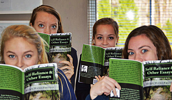 Classical Christian School Students Reading Ralph Waldo Emerson
